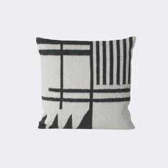 ferm living kelim cushion black lines kussen