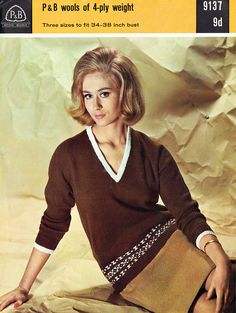 Items similar to PDF Vintage Womens Ladies Fitted Sweater Knitting Pattern P & B 9137 Patons and Baldwin Fair Isle Ingenue Sex Kitten V Neck on Etsy Sweater Knitting Patterns, Easy Knitting, Crochet Patterns, Retro Outfits, Vintage Outfits, Fair Isle Pattern, Hippie Chick, Retro Color, Vintage Knitting