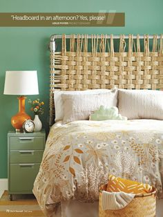 DIY headboard: industrial metal piping and rustic rope. Can think of so many colour and material variations on this—like leather.
