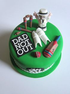 Id rather it say 65 and NOT OUT with a brown dude who has black glasses and a trim goatee (to resemble my dad more). Cricket Birthday Cake, Cricket Theme Cake, 80 Birthday Cake, Male Birthday, Christian Cakes, Dad Cake, 40th Cake, Sports Themed Cakes, Bithday Cake