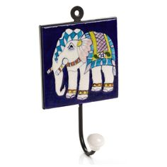 The Crabby Nook Wall Hanging Hook Jaipur Blue Pottery Tile Decorative Accent Home Decor Accent (Elephant) Hanging Wall Art, Wall Hooks, Wall Art Decor, Wall Hangings, Ceramic Wall Tiles, Ceramic Art, Ceramic Pottery, Blue Pottery Jaipur, Elephant Applique