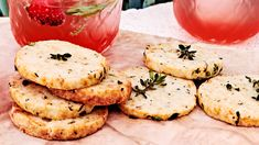 thyme-scented parmesan-almond crackers served on wooden cutting board Baking Recipes, Snack Recipes, Dessert Recipes, Snacks, Desserts, It Goes On, Finger Foods, Crackers, Parmesan