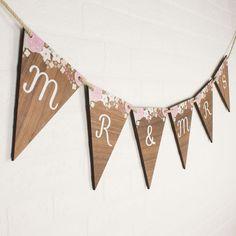 Personalised Wedding Bunting Wood Fl