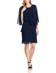 Gina Bacconi Women's Chiffon Shawl and Beaded Edge Dress