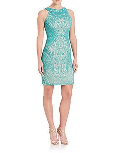 Theia Beaded Sleeveless Dress - Turquoise - Size