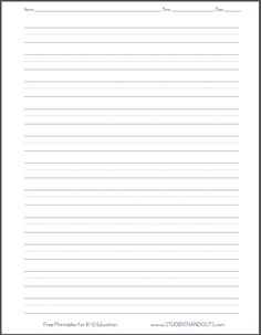 Print Kindergarten Writing Paper  Handwriting Paper Template To