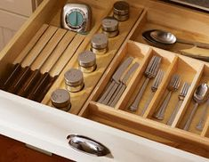 No More Junky Drawers - 20 Smart Kitchen Storage Ideas on HGTV--silverware organization! Utensil Storage, Kitchen Drawer Organization, Kitchen Storage Solutions, Kitchen Drawers, Storage Ideas, Kitchen Cabinets, Knife Storage, Utensil Holder, Cabinet Storage