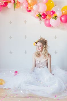 Glam wedding dress idea - tulle ball gown with blush, sparkle bodice and sweetheart neckline {Laura Kelly Photography}