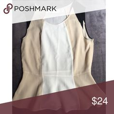 Color-blocked New York & Company peplum top Perfect summer neutrals! Go day-to-night in this color-blocked sleeveless top from New York and Company. Wear is to work under a blazer during the day or dress it up with a statement necklace for evening! Off-white/light cream, tan and black. Fits beautifully! New York & Company Tops