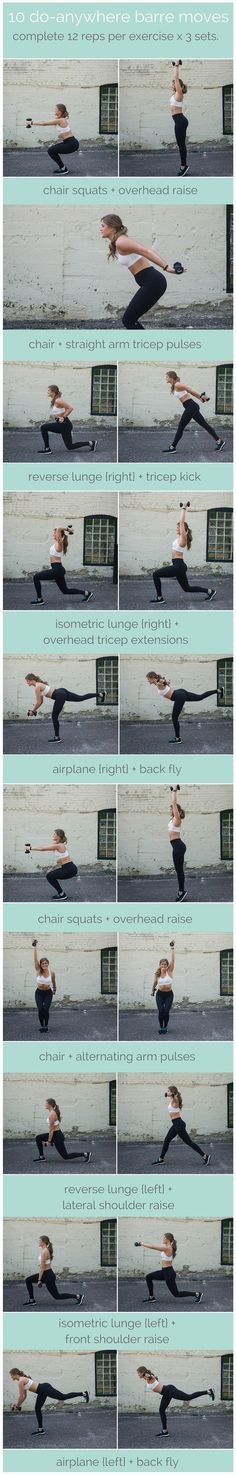 join the barre craze with this at-home, total body routine that will strengthen, lengthen, and tone. these 10 barre moves you can do without a barre are exactly what you'd see in my class at the studio. Fitness Outfits, Fitness Tips, Fitness Shirts, Group Fitness, Barre Moves, Pilates Barre, Barre Body, Gym Workouts, At Home Workouts