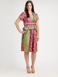 Melissa Masse, Salon Z  Printed Peplum Dress - Saks Fifth Ave - $295