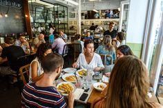 Tel Aviv, Israel - September 8, 2014: Restaurant with diners in Tel Aviv