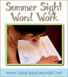 Summer Sight Word and Handwriting Practice