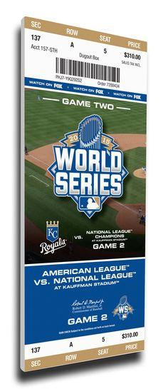 2015 World Series Game 2 Canvas Mega Ticket - Kansas City Royals
