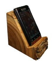 Quarter Log Smart Phone Holder.  http://www.rusticwoodworking.com/our-exclusives.html