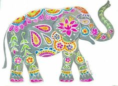 Painted Elephant Art Print by CorinneDesigns on Etsy. A vibrant, festive elephant like the real painted elephants in India. Painted with gouache, so colorful and fun! Elephant India, Elephant Love, Elephants In India, Elephant Design, India Art, India India, Art Lessons, Painting & Drawing, Art Projects