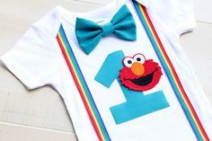 Elmo Birthday Outfit Cake Smash Outfit Baby by CrestlineCreatives
