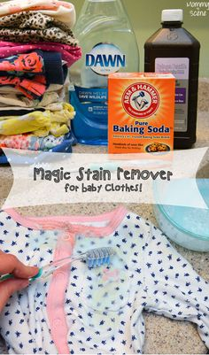 DIY Magic Stain Remover For Baby Clothes. Works wonders to remove yellow baby spit-up stains and more! - Mommy Scene