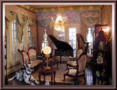 Music Room drapery designed and handmade by Wilson of Dollhouse Linens and More