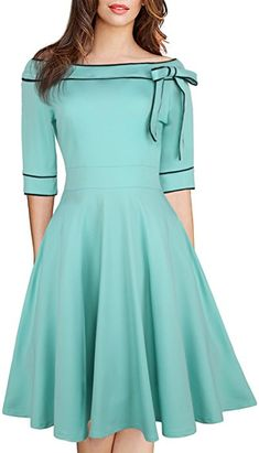 online shopping for HELYO Women's Casual Off Shoulder Pocket Bowknot Rockabilly Swing Vintage Cocktail Party Dress 188 from top store. See new offer for HELYO Women's Casual Off Shoulder Pocket Bowknot Rockabilly Swing Vintage Cocktail Party Dress 188 Elegant Dresses, Pretty Dresses, Beautiful Dresses, Casual Dresses, Women's Casual, Formal Dresses, Casual Party, Casual Outfits, Vintage Style Outfits