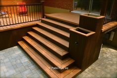 inexpensive way to waterproof a deck above a patio,recycled wood plastic deck furniture (Outdoor Wood Handrail) Patio Steps, Patio Deck Designs, Patio Design, In China, Patio Plus, Wood Handrail, Cheap Landscaping Ideas, Outdoor Stairs, Deck Lighting