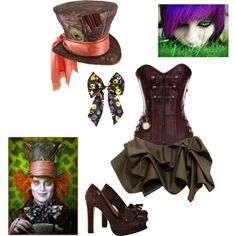 The Mad Hatter costume by sperrbear101 on Polyvore featuring Lola Cruz, Disney, women's clothing, women's fashion, women, female, woman, misses and juniors