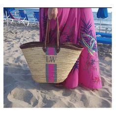 Leather trimmed monogrammed basket bag by Pink Waters Basket Bag, Straw Bag, Water, Pink, Bags, Style, Water Water, Handbags, Aqua