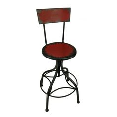Tall Red Swivel Kitchen Bar stool w Back Rest Vintage barstool seating chair