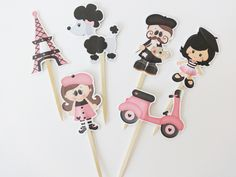 Adorable Paris Themed Cupcake Topers by DianasDen on Etsy