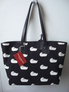 DOONEY-BOURKE-LARGE-CANVAS-LEATHER-CINDY-BLACK-TOTE-NWT