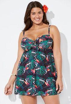 9c0f761b082 Cabo Cup Sized Tie Front Underwire Swimdress Plus Size Tankini, Plus Size  Swimwear, Curvy