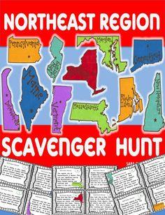Northeast Region scavenger hunt!  So much fun to incorporate social studies and reading skills. #USregions #socialstudies $