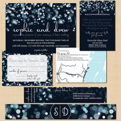 Sparkly Stars Wedding Invitation RSVP Inserts by BrownPaperMoon, $56.00