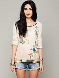 Free People Hooded Embroidered Pullover. Available at Asinamali.