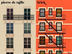 Paris VS New York ▼「建物の外観といえば」 パリ「石造り」 ニューヨーク「レンガ造り」