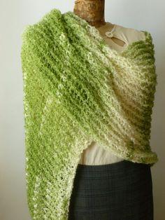 Loom Knit Shawl in Clover Field Green by BazaarCharlotte on Etsy, $47.99