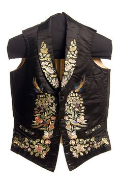 Man's embroidered silk vest, 1853. This beautifully embroidered fabric was executed in Canton, China and purchased there in 1851 by Louis Manigault (1828-1899) while he was traveling around the world. It was made in to a ball and dinner vest in Charleston. The lining fabric bears the Manigault name in Chinese characters. Charleston Museum.
