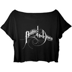 ASA Women's Crop Top Panic! At the Disco Shirt Brendon Urie T-shirt ($25) ❤ liked on Polyvore featuring tops, t-shirts, crop top, crop shirts, disco shirt, disco top and shirt top