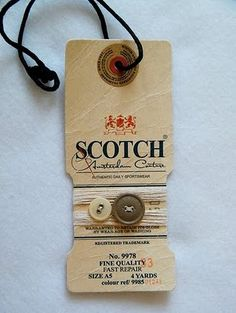 Swing tag with paper hole reinforcement, spare-buttons sewed with yarn Label Design, Branding Design, Hangtag Design, Design Packaging, Swing Tags, Paper Tags, Clothing Labels, Printing Labels, Letterpress