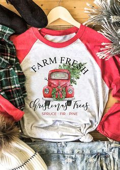 Farm Fresh Christmas Trees T-Shirt Tee - Light Grey the best Online Clothing Shopping Boutiques, get the latest fashion clothing online # Christmas Tee Shirts, Christmas Outfits, Fresh Christmas Trees, Merry Christmas, Home T Shirts, Latest Fashion Clothes, Fashion Dresses, T Shirts For Women, Tees
