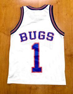 8cffd81646d0 Vintage 1996 Bugs Bunny Tune Squad Champion Jersey Size Youth Large space  jam monstars jordan taz