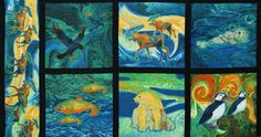 Creatures of the Wild by Teresa Ascone: Cotton Novelty Print Fabric: Robert Kaufman Fabric Company.