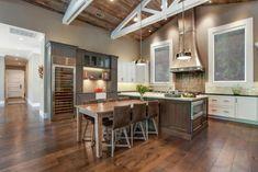 Alamo Farmhouse Remodel - farmhouse - Kitchen - San Francisco - LMK Interiors love the chocolate colored wood, steel appliances, grey cabinets and white accents