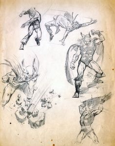 Thor & Captain America sketches from 1966 by John Buscema