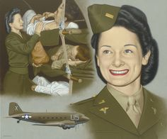 Lillian Keil, a Flight Nurse, was the most-decorated U.S. military woman.  Painting by Thomas Segars.