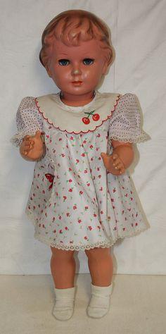 1 of 8: Alte Schildkröt Puppe mit Kleid blaue Augen und Stimme Gr. 64 Kunststoff 64cm