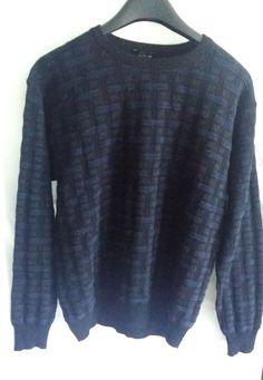 MINO MILANO Made In Italy Wool Blend Pullover Crewneck Sweater Black Blue Sz L #Milano #Crewneck