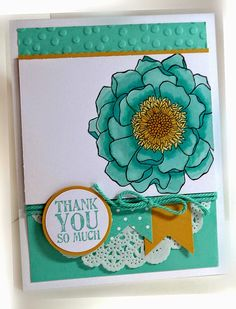 Stamps: Blended Bloom, Lots of Thanks Paper: Coastal Cabana, Whisper White, Hello Honey, In color DSP Ink:  Memento Black,  Blendabilities, Coastal Cabana Accessories: Baker's twine, paper doily Tools: circle punches, decorative dots EF, dimensionals