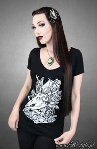 "V-NECK ""DEER NATURE"" Animal Skull, black gothic t-shirt | CLOTHING \ T-shirts | Restyle.pl"