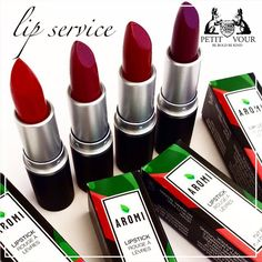 "Say ""hello"" to Wildflower, Crimson, Bordeaux, and Merlot, just some of our new fall lippies by Aromi. #vegan #makeup"
